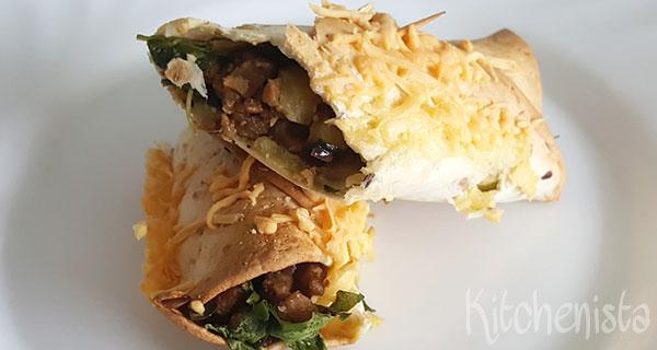 Wrap met vegagehakt en pesto