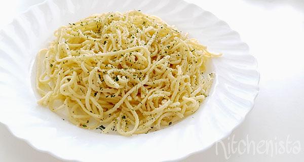 Spaghetti met Parmezaan, citroen en knoflook