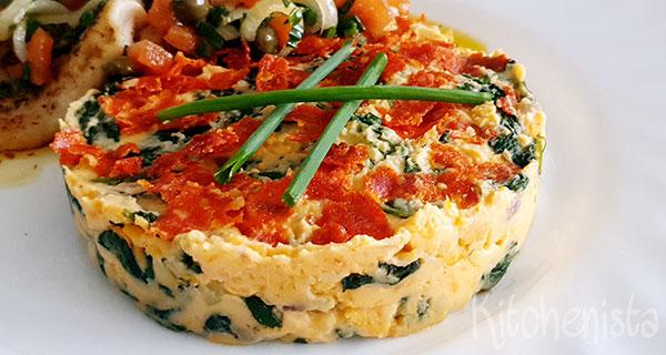 Stamppot spinazie en zoete aardappel met krokante chorizo
