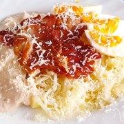 Spaghetti van asperges met hamsaus en krokante ham