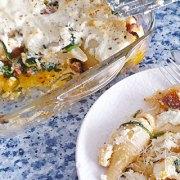 Pasta ovenschotel met chorizo, ricotta en spinazie