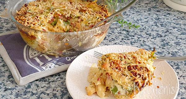 Strata – hartige broodpudding met camembert en bacon