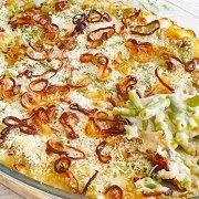 Sperziebonen ovenschotel met sjalotjes en champignons
