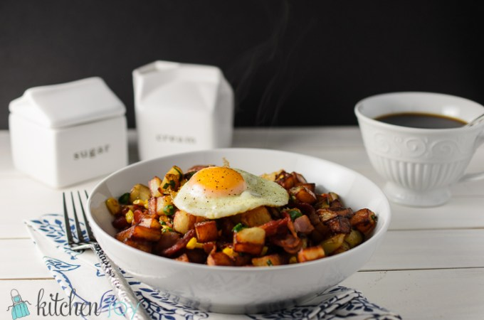 Bacon & Corn Breakfast Hash - Kitchen Joy