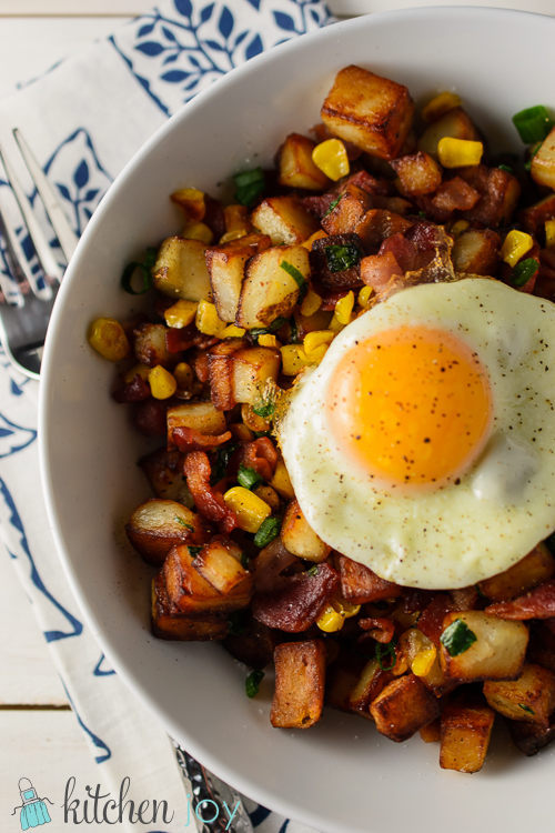 Bacon & Corn Breakfast Hash - Kitchen Joy