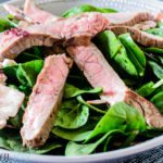 Seared Skirt Steak and Spinach Salad with Red Wine-Shallot Vinaigrette