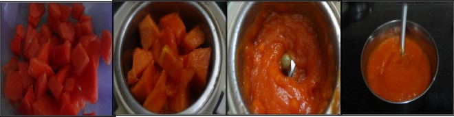 papaya puree making