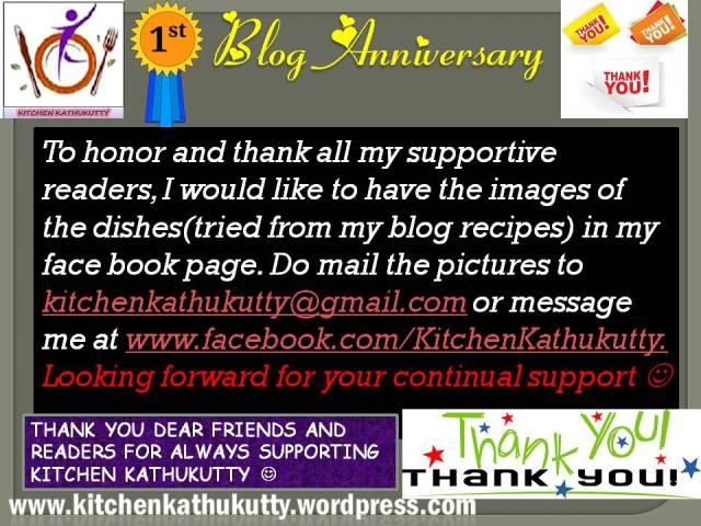 first year blog anniversary at kitchenkathukutty