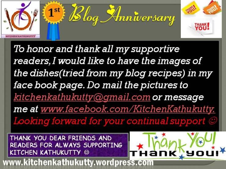 first year blog anniversary at kitchenkathukutty