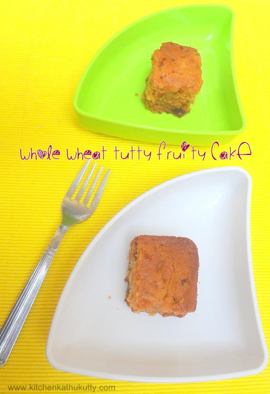 whole wheat tutti frutti nutty cake