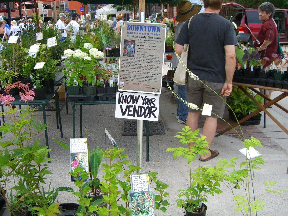"""Know Your Vendor"" sign at Dancing Lady Gardens. I thought that was cool."