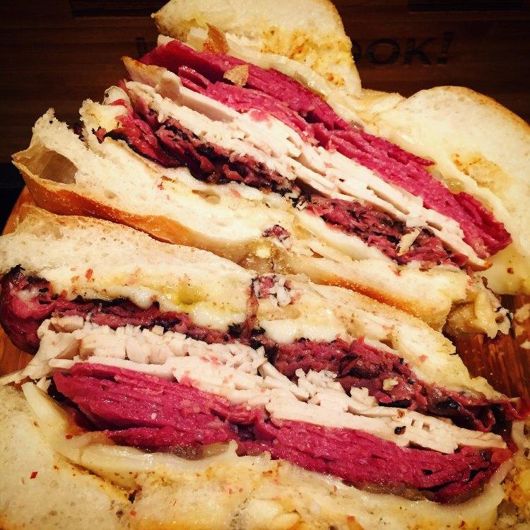 Triple Meat NYC Deli Sandwich Recipe:  Turkey, Corned Beef, & Pastrami