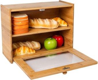 INDRESSME Bamboo  Bread Box