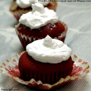 Whole Wheat Red Velvet Cupcake topped with Whipping Cream (5)