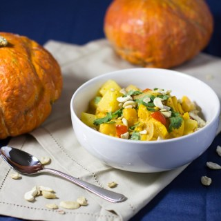 Pumpkin Curry: Hearty and creamy thai recipe. Just the right amount of spice and a touch of sweet. Delicious flavor combination of pineapple, squash (pumpkin), coconut, and thai spices. Yum! Vegan. & clean eating approved.