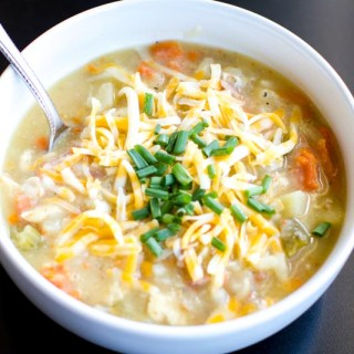 Cozy/ healthy crock pot baked potato soup. Made with clean ingredients, hearty, satisfying and perfectly delicious on cold evenings! Vegan/ vegetarian substations optional.