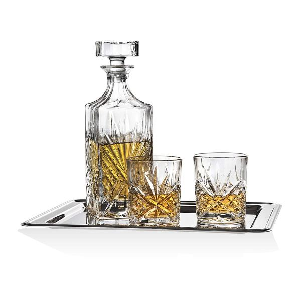 Dublin Whiskey Bar Set - Includes Whisky Decanter 6 Fashioned Tumbler Glasses And Mirrored