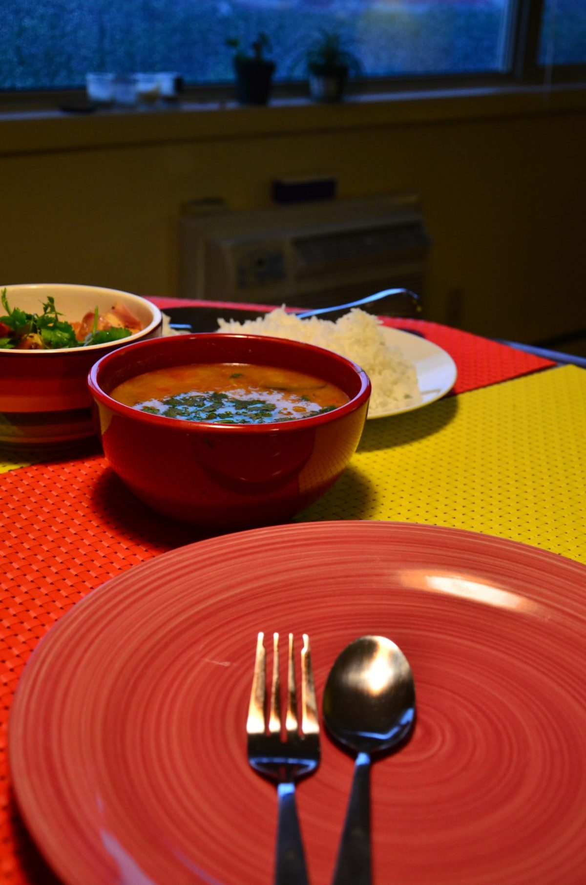 Dal, Paneer, Rice - quick Indian meal