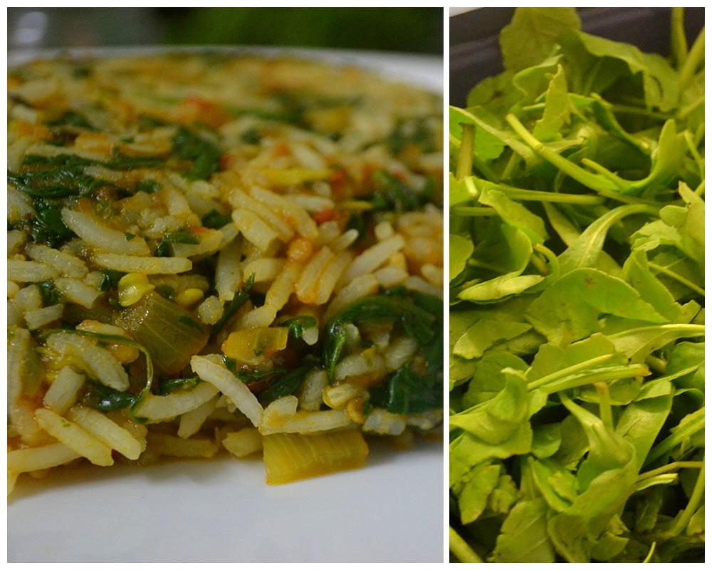 Garlicky spinach rice