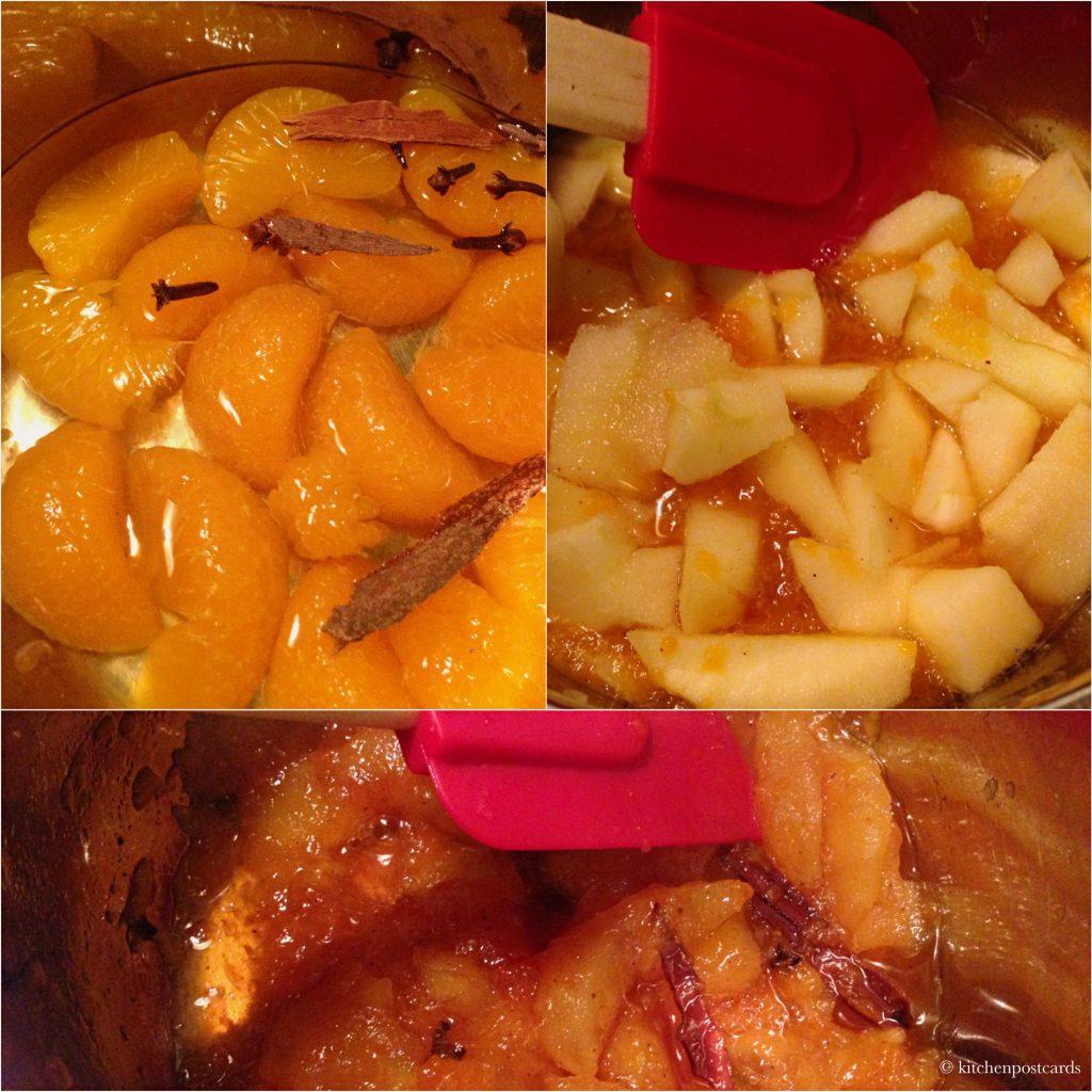Stewing fruit.