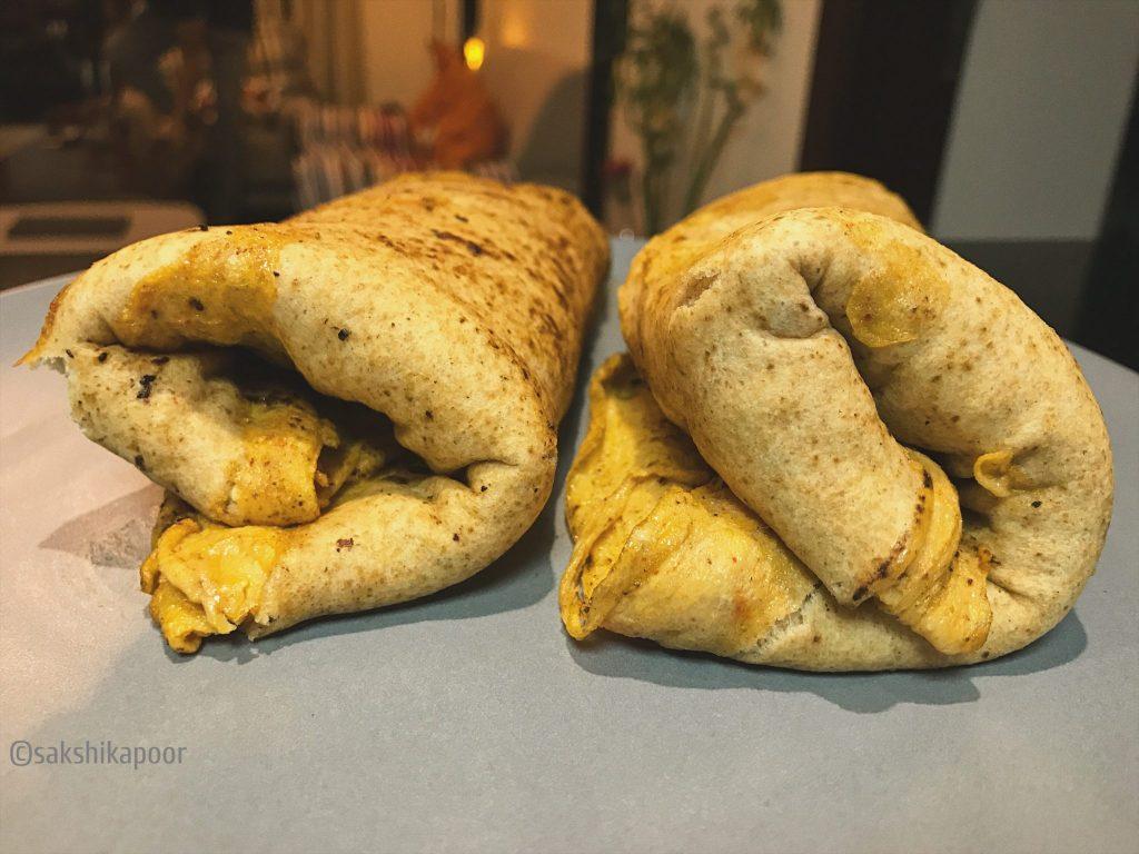 How to fold Masala Egg Kathi roll