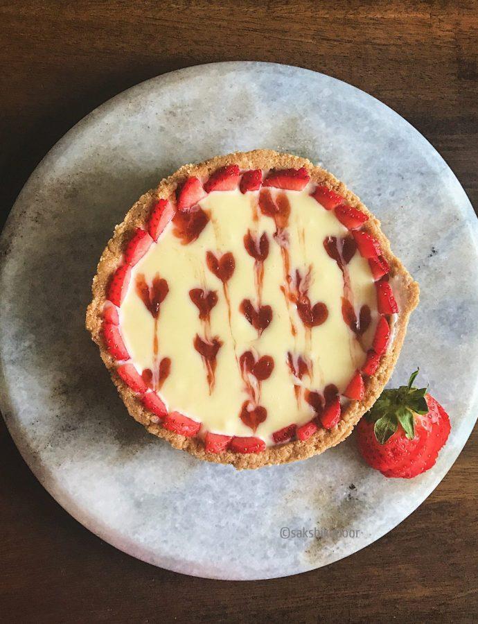 No Bake Strawberry & White Chocolate Ganache Tart