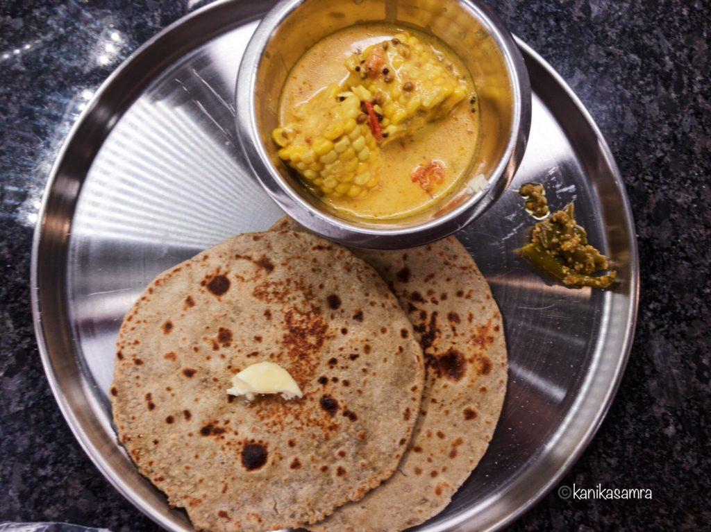 Corn Curry, Roti, Pickle