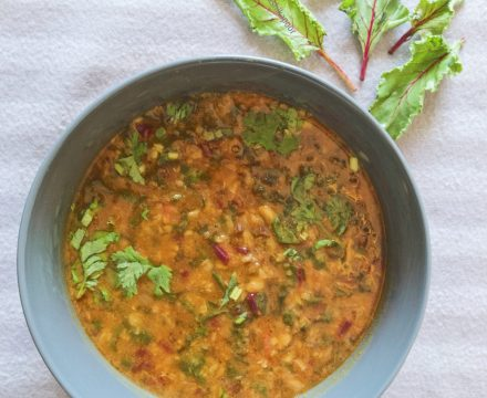 Dal with Beetroot Greens
