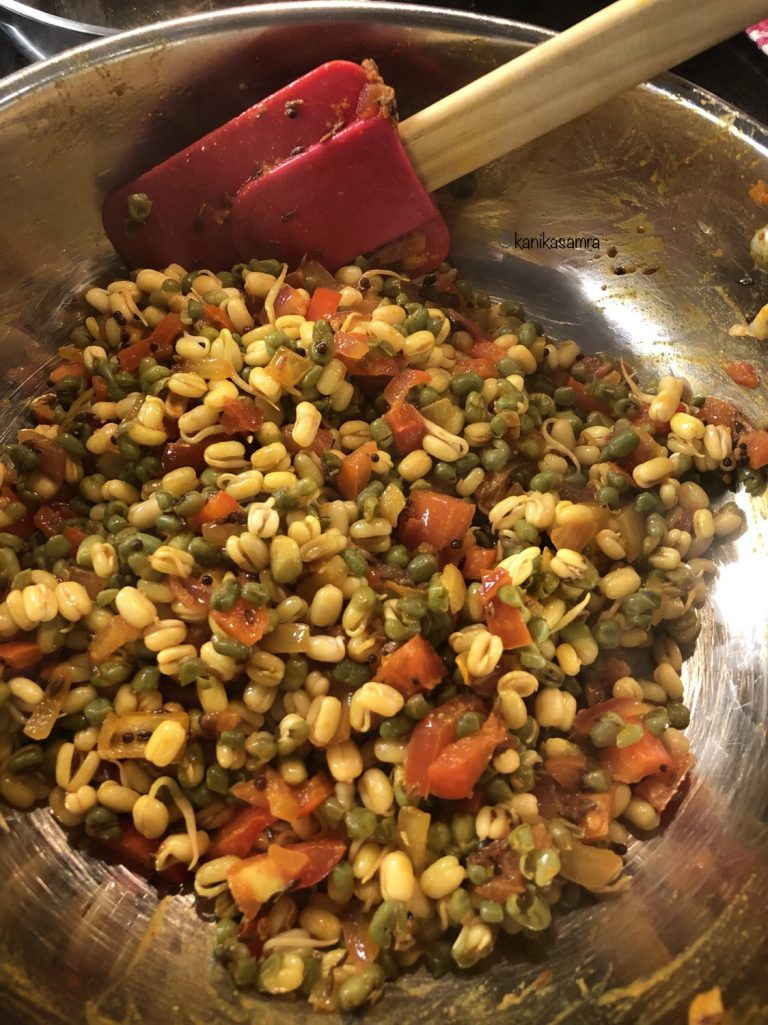 Moong sprouts in a simple tadka