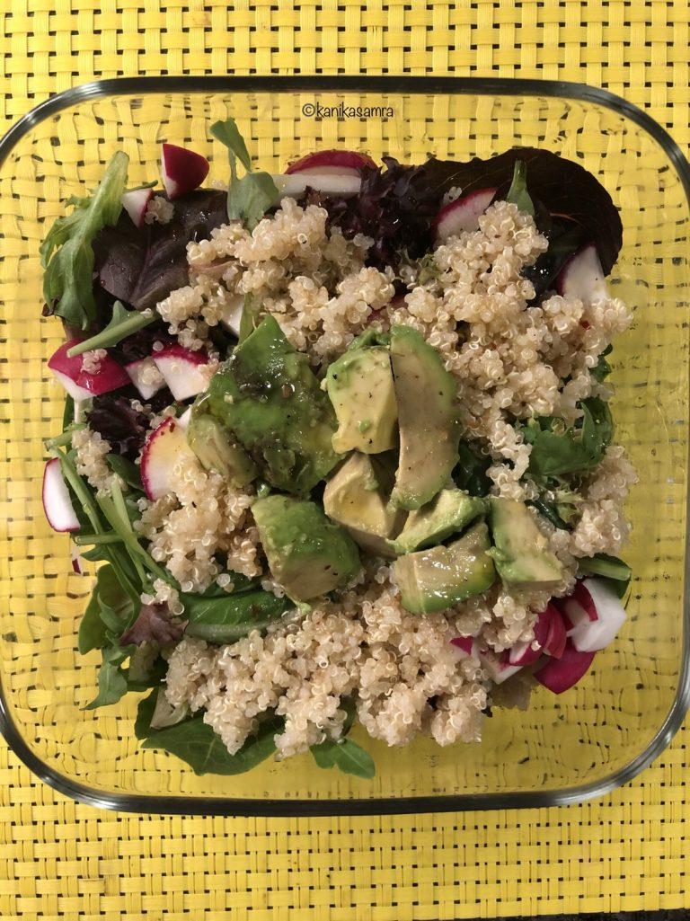 A bowl of homemade quinoa and avocado salad.