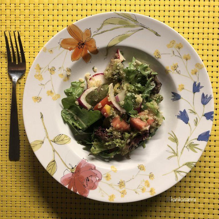 A bowl of Quinoa Avocado salad.