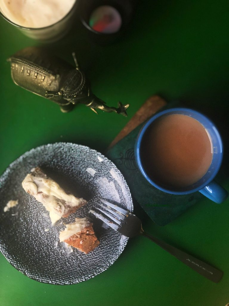 Rum Soaked Carrot Cake with a cup of tea.