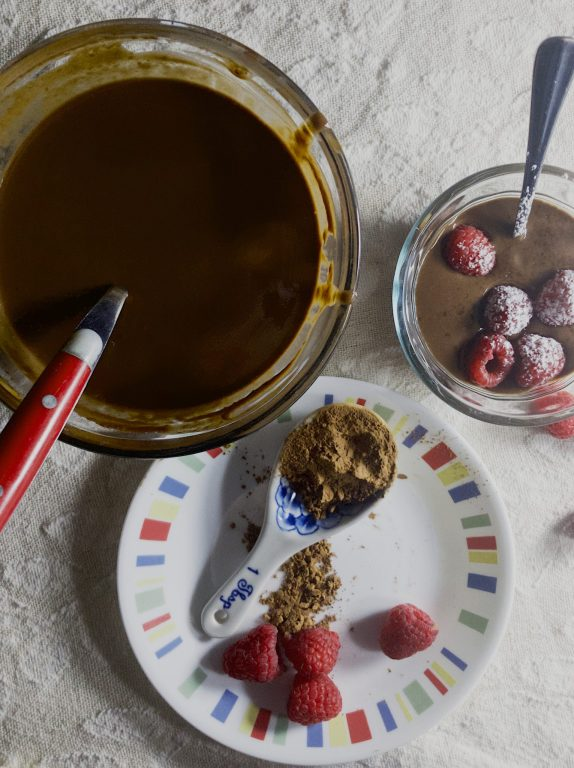 Simple ingredients for My Mom's Easy Chocolate Pudding.