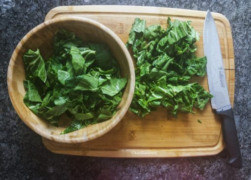 Chopped haak leaves