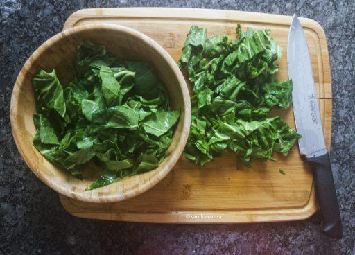 Chopped haak leaves