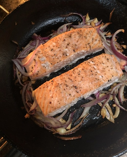 Salmon cooked in the oven.