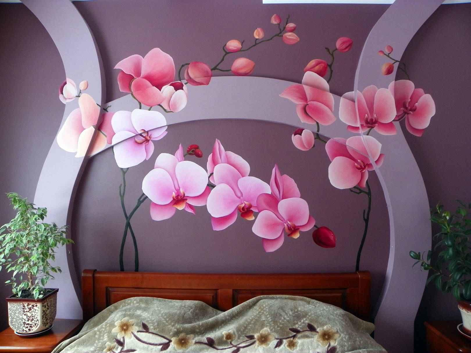 Обои с орхидеями в интерьере
