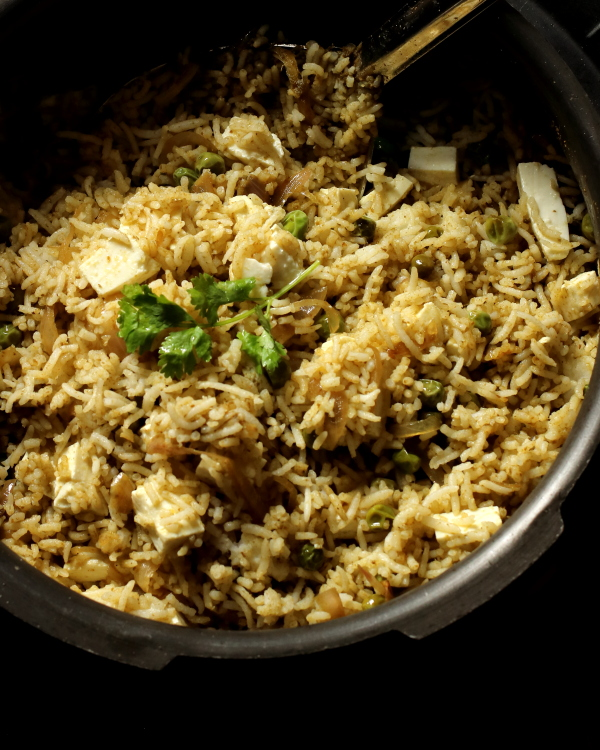 Paneer and Peas Pulao with Leftover Rice