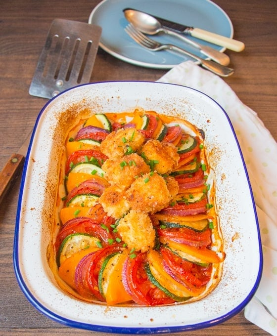 Ratatouille with Feta Croutons - Juicy veg with hearty flavours, finished off with crispy little cubes of feta.