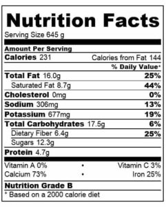 malted coconut hot smoothie nutritional information
