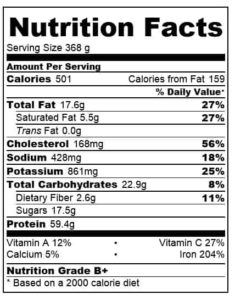 pulled beef brisket nutritional information