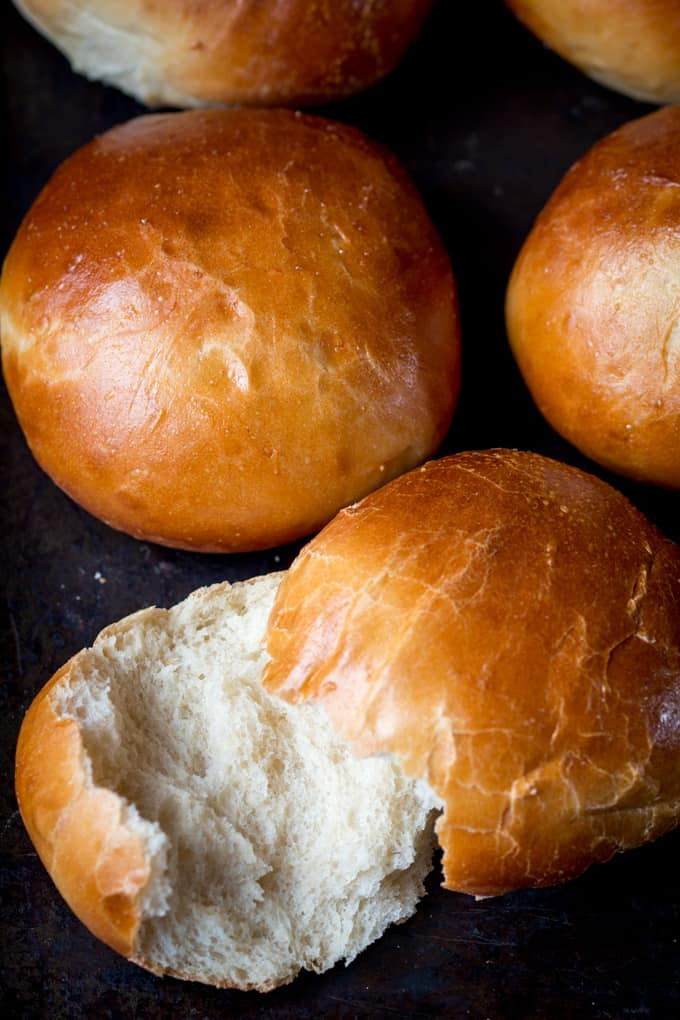 Soft and Light Brioche Burgers Buns - Nicky's Kitchen ...