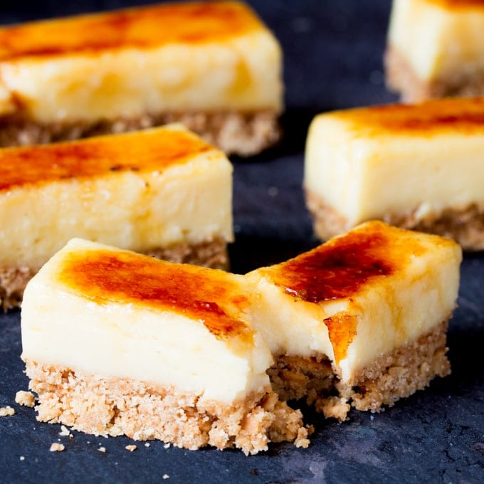 These Crème Brulee Bars are smooth, creamy and delicious - with a biscuit base and a crunchy sugar topping.
