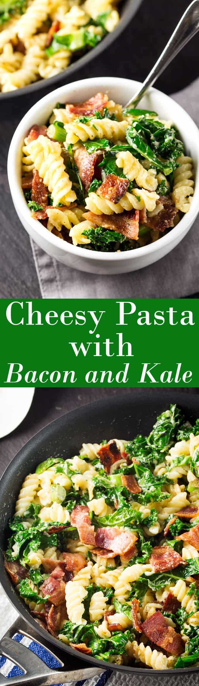Cheesy Pasta with Bacon and Kale - ready in 15 minutes!