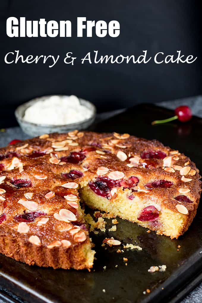 A fluffy Cherry and Almond Cake with fresh cherries and dollops of jam. So tasty and gluten free too!