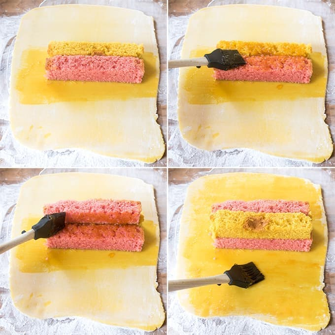 The Battenburg - an English classic of fluffy checked sponge sandwiched together with jam and wrapped in thick almond marzipan.