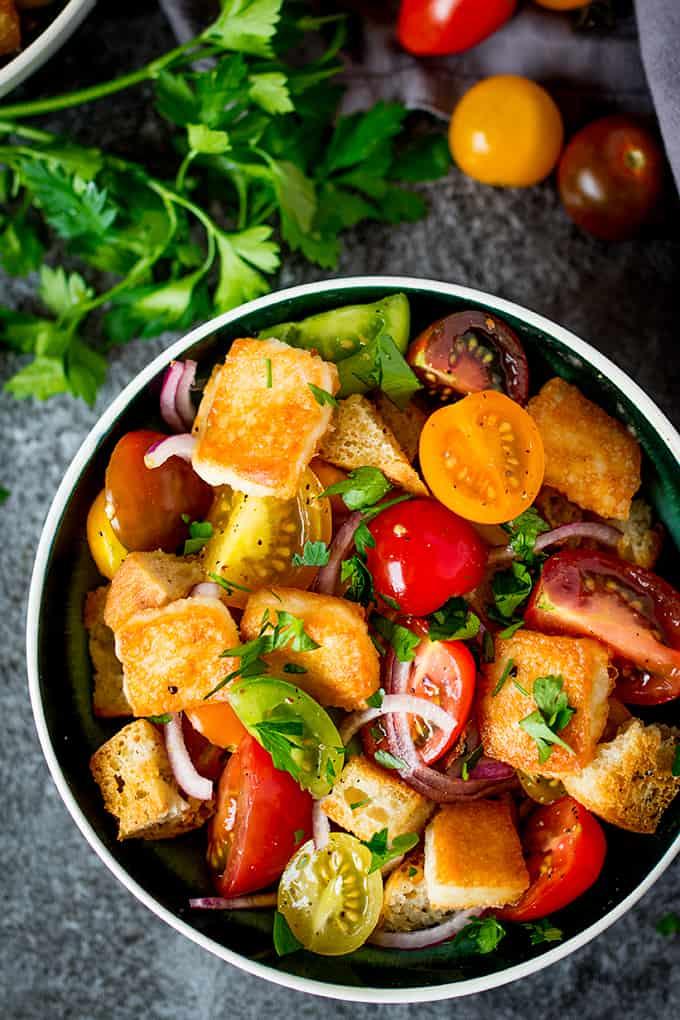 Panzanella Salad With Saganaki Nicky 39 S Kitchen Sanctuary