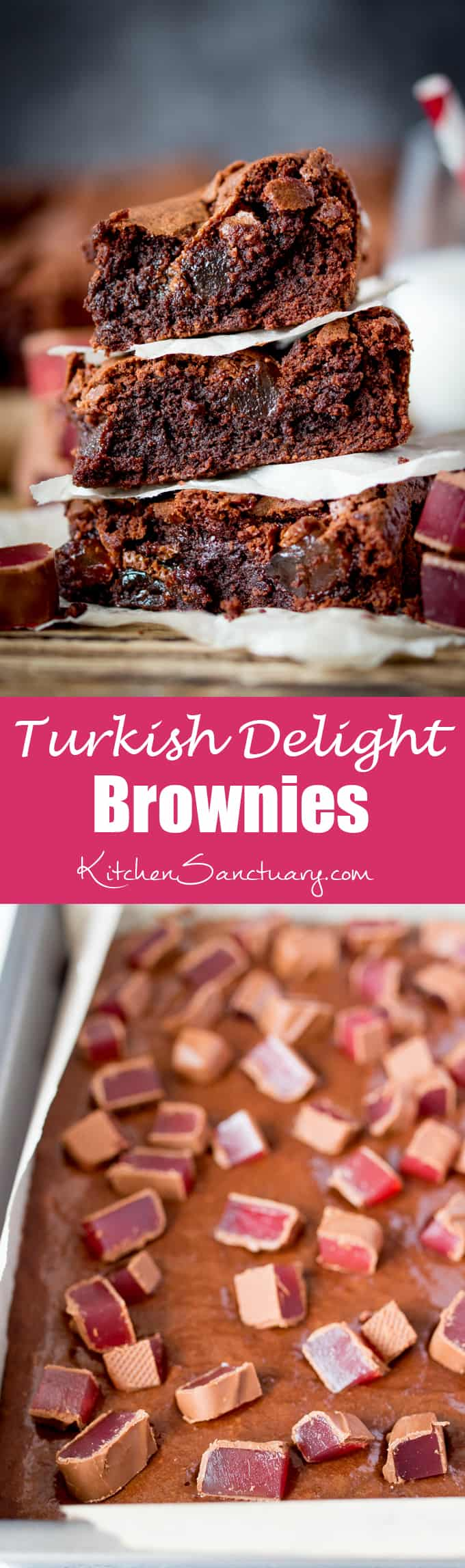 Turkish Delight Brownies - squidgy chocolate brownies with a crisp, meringue-like top, stuffed with chunks of chocolate-covered Turkish delight.