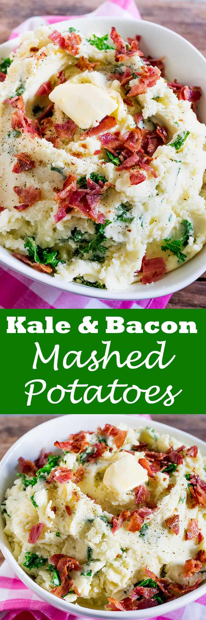 Buttery Kale and Bacon Mashed Potatoes makes a great side dish - or even a meal in itself! Perfect as a side dish for Christmas or Thanksgiving.