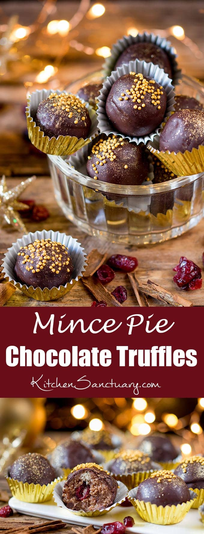 These Mince Pie Truffles are packed with fruity mincemeat and cranberries - a delicious party snack or homemade Christmas gift!